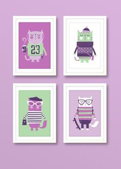 Nursery art girl girls print set hipster cats by BubbleGumYears, £27.99