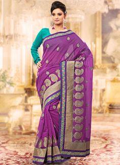 Purple Zari Embroidered Chanderi Silk Saree