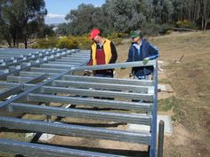 Putting the Boxspan steel floor frame kit together. The floor frame was designed and cut to length, ready to install on site.