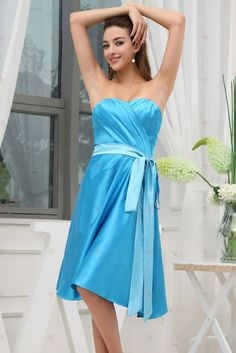 prom dresses beach wedding dresses plus size quinceanera dresses blue charismatic sheath sweetheart knee-length satin blue cocktail dress with sash Cute Wedding Dress, Fall Wedding Dresses, Colored Wedding Dresses, Dream Wedding, Blue Wedding, Spring Wedding, Wedding Things, Wedding Stuff, Blue Bridesmaid Gowns