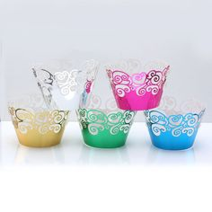Yerwal 60pcs Mix Color Colorful Mirror Filigree Little Spindrift Lace Laser Cut Cupcake Wrapper Liner Baking Cup Muffin Case Trays Wedding Birthday Party Decoration >>> Read more  at the image link.