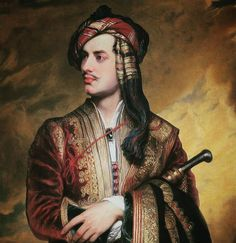 Love the rich colours in the painting and the brooch at his neck. Lord Byron in Albanian dress by Thomas Phillips 1835. #fetherayjewels