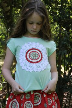 Girls Doily Mandala Red and Turquiose Top Sz 5 by Fluturi on Etsy, $20.00