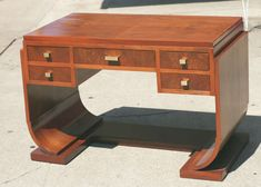 French Streamline Art-Deco Writing Desk / Vanity in the Style of  Ruhlmann | From a unique collection of antique and modern desks and writing tables at http://www.1stdibs.com/furniture/tables/desks-writing-tables/