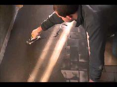 Aanbrengen Stuc Deco op oude betegelde vloer - YouTube