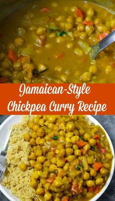 Delicious and flavorful Jamaican-Style Chickpea Curry, full of bold flavors like thyme, Scotch Bonnet pepper, and allspice berries in creamy coconut milk. Vegan Chickpea Curry, Chickpea Recipes, Vegetarian Recipes Dinner, Vegan Dinners, Veggie Recipes, Indian Food Recipes, Cooking Recipes, Healthy Recipes, Vegan Bean Recipes