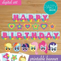 My Little Pony printable Happy Birthday Banner