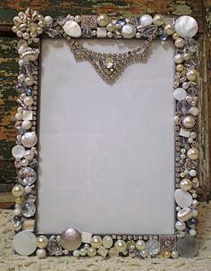 Mosaic Large Shabby Jeweled Picture Frame - Loads of Vintage Rhinestones - Holds Photo Jewelry Frames, Jewelry Tree, Old Jewelry, Costume Jewelry Crafts, Vintage Jewelry Crafts, Picture Frame Crafts, Picture Frames, Beads Pictures, Shabby Chic Crafts
