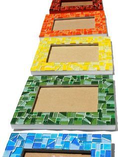 5 x 7 monochromatic mosaic picture frame. You choose the col Mosaic Tile Art, Mirror Mosaic, Mosaic Crafts, Mosaic Projects, Mosaic Glass, Mosaic Drawing, Mosaic Designs, Mosaic Patterns, Back Painting