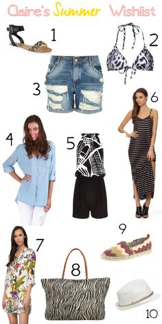 1. Sandals Microsuede $29.99 from Famous Footwear.  2. Leopard Bikini Top $39.95 from Bardot  3. Light Wash Ripped Denim Boyfriend Shorts $64 from River Island  4. Barcelona Shirt $60 by Labels and Love  5. Black Abstract Playsuit $80 from River Island   6. Petite Cami Maxi Dress $34.95 from The Iconic  7. Willow Printed Shirt Dress $59.95 from The Iconic  8. Paper Straw Beach Bag $10 from Target  9. Missoni Espadrilles $40 from Target  10. Laura Sparkle Trilby Hat $29.99 from Forever New