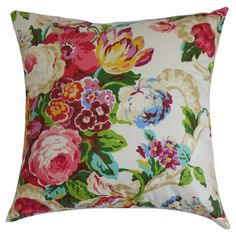 "Spring Floral Throw Pillow - Rose (18""x18"") - The Pillow Collection, Red"