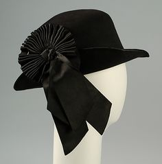 Circa 1915 Hat by Caroline Reboux,   French. Wool, hair, and silk via Brooklyn Museum Costume Collection at The Metropolitan Museum of Art.