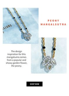 Simple diamond mangalsutra with floral design. Mangalsutra chain with minimal beads for a modern bride. Designer mangalsutra that will last a lifetime