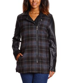 Another great find on #zulily! Gray & Brown Plaid Faux Leather-Sleeve Coat by Yoki #zulilyfinds