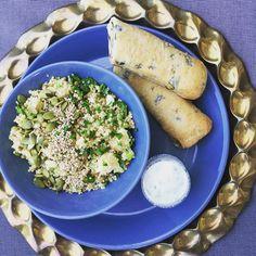 Lunchbowl | couscous, lentils, feta, celery, red onion, cilantro & parsley