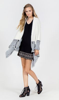 BASIC SLEEVELESS TANK WITH COMPLIMENTARY CONTRASTED NAVAJO INSPIRED EMBROIDERED HEM | LONG SLEEVE PRINTED HAIRY SWEATER CARDIGAN