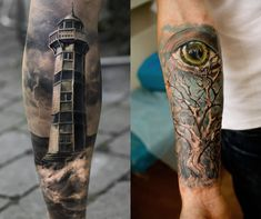 Beautiful Eye And Tree With Lighthouse Tattoos