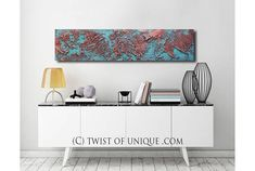 Red Rusted metal Painting / ORIGINAL Textured Abstract/ 48x12