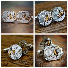 Steampunk Watch Cufflinks, Watch Movement Cufflinks, Groomsmen Gifts, Mens Cufflinks, 42nd Clock Wedding Anniversary, Watch Gift Groomsmens Watch Cufflinks, Steampunk Watch, Casual Wear For Men, Groomsman Gifts, Cool Suits, Groomsmen, Wedding Anniversary, Bracelet Watch, Unique Gifts