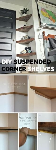Check out the tutorial: DIY Suspended Corner Shelves crafts homedecor - Easy Diy Home Decor Diy Projects For Bedroom, Home Projects, Diy Bedroom, Bedroom Ideas, Mirror Bedroom, Bedroom Corner, Craft Projects, Bedroom Inspiration, Bedroom Storage Ideas Diy