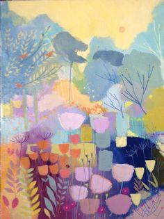 Original Acrylic Landscape Painting on Canvas - Orange Birds by Annabel Burton | eBay
