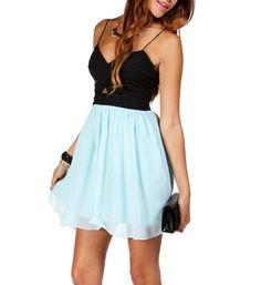 Black and mint dress.