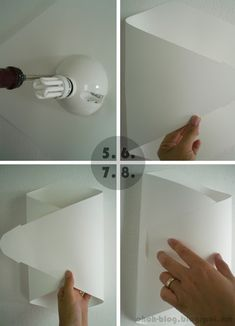 Paper wall lamp to make yourself – perfect lighting for the hallway - Beleuchtung Diy Wand, Diy Abat Jour, Luminaria Diy, Luminaire Mural, Origami Lamp, Papier Diy, Paper Light, Diy Desk, Lamp Design