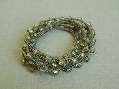 Aqua crochet wrap bracelet summertime long wrap by SoCalKnotty