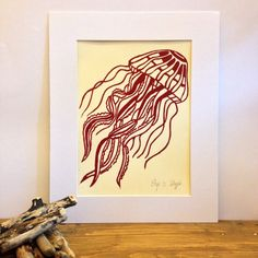 Original Jellyfish Lino Print Art by CuriousSeagull on Etsy
