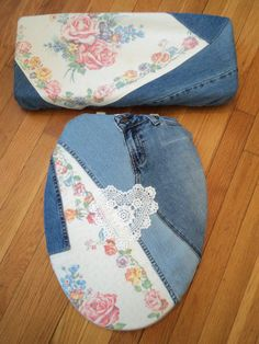 Love Vanilla Rose Original - Denim Rustic Rose Toile Toilet Seat Cover Set