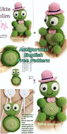 In this article we will share a wonderful amigurumi turtle keychain free crochet pattern. You can find everything you want about Amigurumi. Crochet Animal Patterns, Stuffed Animal Patterns, Crochet Animals, Knitting Patterns, Crochet Monsters, Amigurumi Free, Crochet Patterns Amigurumi, Crochet Dolls, Crochet Crafts