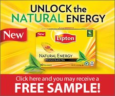 FREE Lipton's Natural Energy Tea Sample **New Offer**