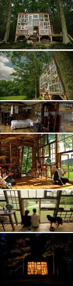 Located in the mountains of West Virginia, photographer Nick Olson and designer Lilah Horwitz have built their own enchanting retreat made out of discarded windows, on a budget of $500. The towering home away from home boasts a creative facade made of windows of varying sizes, giving it an artistic flair that is both rustic and modern. More than anything, though, it is a representation of the couple's diligent and penny-pinching efforts.