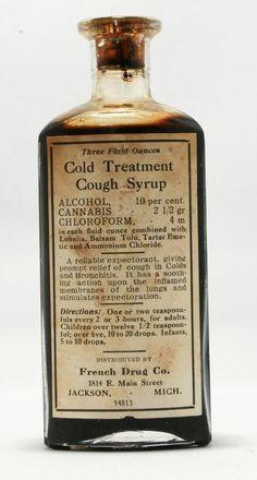 Alcohol, chloroform, and cannabis. Antique Bottles, Old Bottles, Vintage Bottles, Vintage Ads, Vintage Perfume, Antique Glass, Perfume Bottles, Old Medicine Bottles, Medicine Cabinet