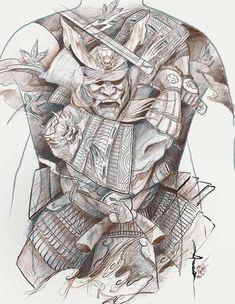 Japanese Warrior Tattoo, Japanese Mask Tattoo, Japanese Tattoo Designs, Sketch Tattoo Design, Tattoo Sketches, Samurai Back Tattoo, Kabuto Samurai, Samurai Artwork, Full Back Tattoos