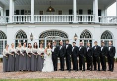 Sweetgrass Social Wedding at Lowndes Grove in Charleston, SC. Wedding party pictures in front of house. Gray Weddings, Southern Weddings, Bridesmaids And Groomsmen, Bridesmaid Dresses, Wedding Dresses, Jamie Clayton, Wedding Photos, Wedding Ideas