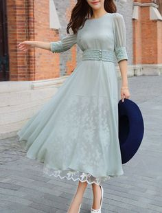 Stylish Round Neck 3/4 Sleeve Spliced Chiffon Organza Dress For Women