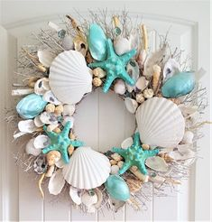 Seashell Wreath on Birch Twig w/Blue Star Fish & Highly Polished Clams in 3 Color Variat. - Seashell Wreath on Birch Twig w/Blue Star Fish & Highly Polished Clams in 3 Color Variations, - Seashell Wreath, Seashell Art, Seashell Crafts, Driftwood Wreath, Driftwood Crafts, Sea Crafts, Diy And Crafts, Arts And Crafts, Baby Crafts