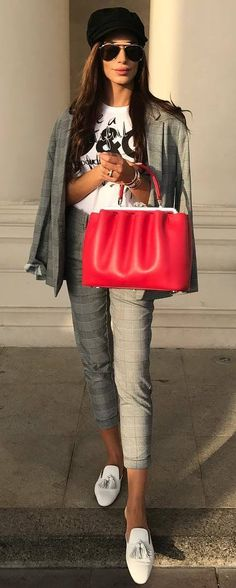 casual style perfection / hat + red bag + plaid suit + top + loafers