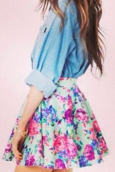 Skirt: floral purple pink green hipster summer skater light blue denim shirt roll up sleeves