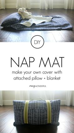DIY preschool nap mat cover tutorial with attached blanket, pillow, straps and handle.