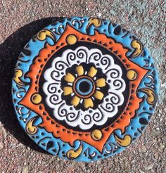 1 Talavera Mexican 4 Tile Pottery Hi Relief Coaster Round Turquoise Gold…