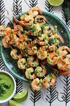Fire up the grill! // Cilantro Lime Grilled Shrimp + Roasted Poblano Sauce via @cremedelacrumb