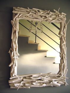 Espejo rustico con troncos
