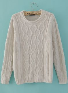 Beige Round Neck Long Sleeve Cable Knit Pullovers Sweater