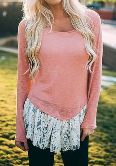 Simple pieces, like this pink lace-hem top go a long way. You can style it any way you like, and even wear it no matter the weather.