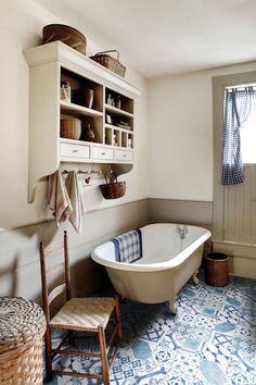 Di Lorenzo maiolica mix blue [and IKEA on wall] Timber Tiles, Tiles Uk, Wall Tiles, Mandarin Stone, Bathroom Gallery, Primitive Bathrooms, Italian Tiles, Downstairs Bathroom, Attic Bathroom