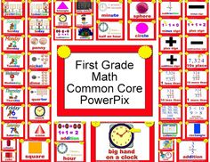 Math Common Core PowerPix for Kinder grade from WBT with Scrapbunny - different visuals and teaching ideas for different grades and subjects. First Grade Teachers, 1st Grade Math, Fourth Grade, Grade 1, Math Classroom, Kindergarten Math, Classroom Ideas, Maths, Common Core Math