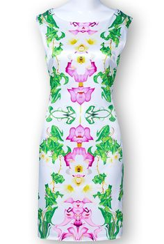 Green Red Sleeveless Floral Straight Dress