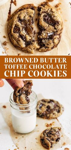 Browned Butter Toffee Chocolate Chip Cookies are loaded with flavor and soft yet chewy, ooey gooey texture. This easy homemade recipe is absolutely delicious and topped with sea salt. Dunk in a glass of milk for the best cozy dessert! Salted Chocolate Chip Cookies, Toffee Cookies, Cookie Brownie Bars, Chocolate Toffee, Cookie Desserts, Just Desserts, Delicious Desserts, Dessert Recipes, Toffee Cookie Recipe